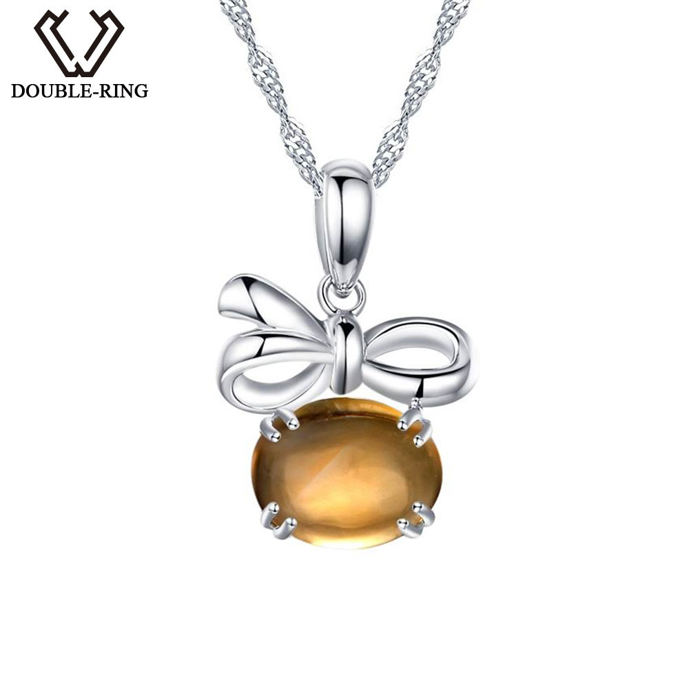 DOUBLE-R Natural Gemstone Citrine Pendant Women 925 Sterling Silver Necklace Real Fine Jewelry With Chain Girl friend Gift gemstone fine women jewelry real natural fresh water pearl pendant necklace wedding necklace 925 sterling silver double layers