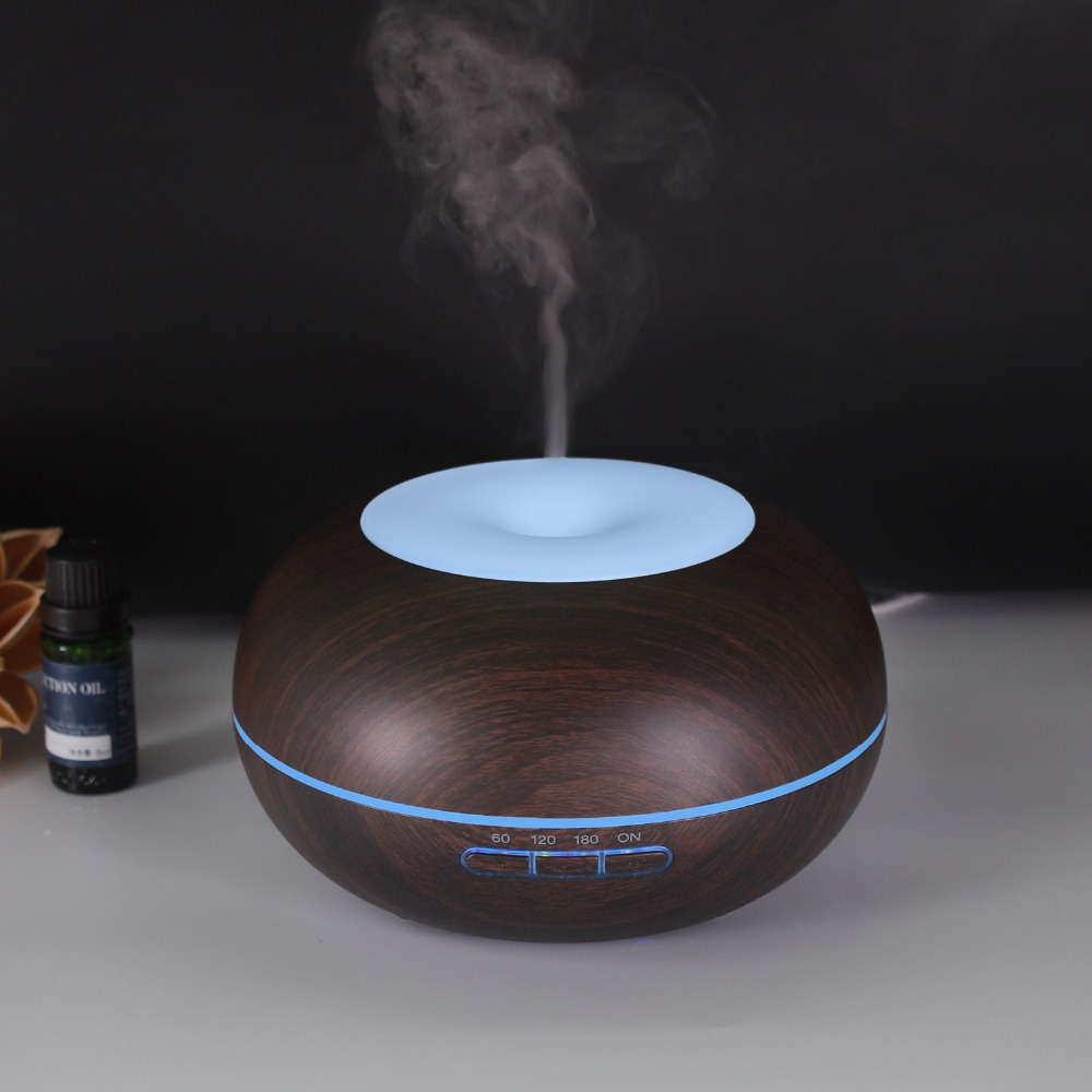 Dark Wood 300ml Air Humidifier Ultrasonic Aroma Essential Oil Diffuser Home Air Purifier Color Light Aromatherapy Humidificador ware r in a dark dark wood