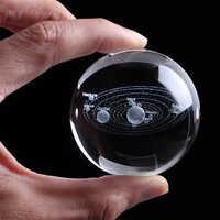 Láser grabado Sistema Solar bola 3D miniatura planetas modelo esfera cristal bola decoración del Hogar Accesorios decoración Hogar