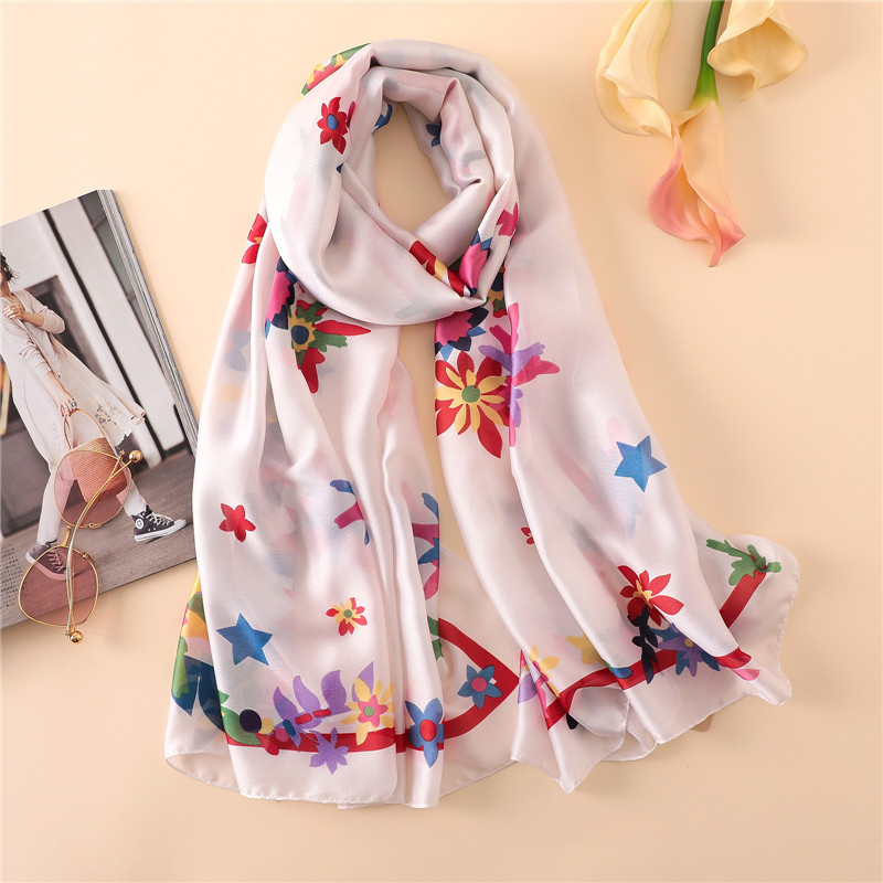 2018 spring summer women scarf lady shawl and wrap soft silk scarves pashmina foulard print floral hijabs