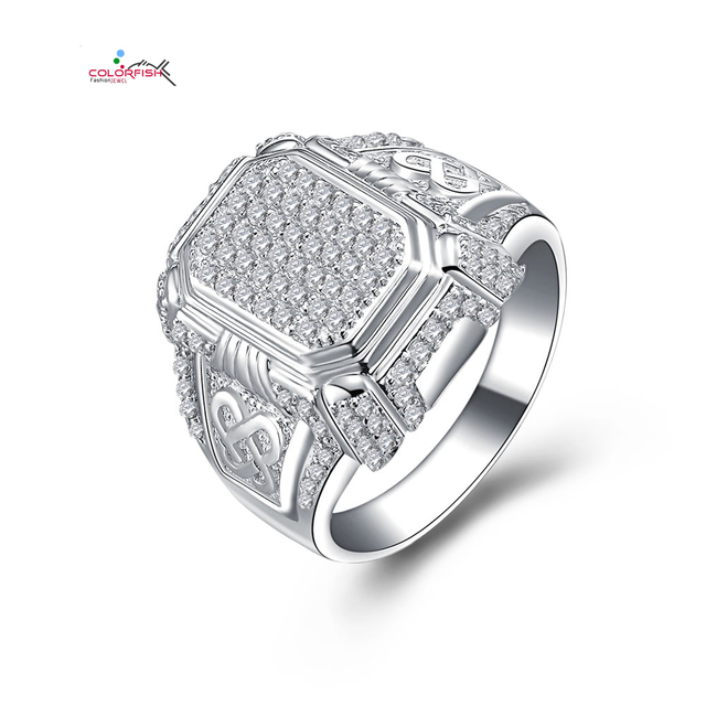 156d7dd2d COLORFISH 925 Sterling Silver Ring Men White Gold Color Modern Jewelry With  114 High Quality Zirconia Wedding Engagement Rings