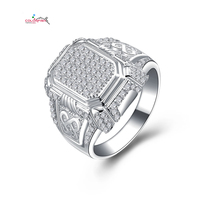 Mens Modern Jewelry Platinum Plated Square Ring 925 Sterling Silver Pave Set 114 Cz Diamond Wedding