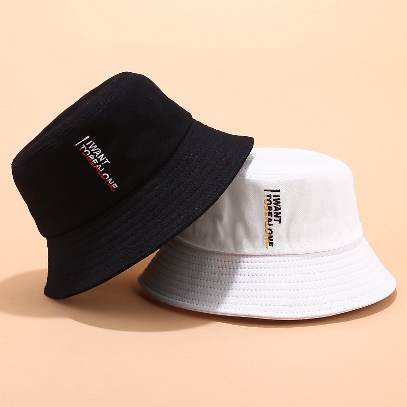Fisherman Hat Men's New I WANT Letters Embroidered Basin Cap Women Spring And Summer Outdoor Wild Casual Men Bucket Sun Hat