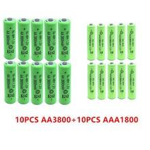 10pcs AA 3800mAh Ni-MH Rechargeable Batteries + AAA 1800mAh