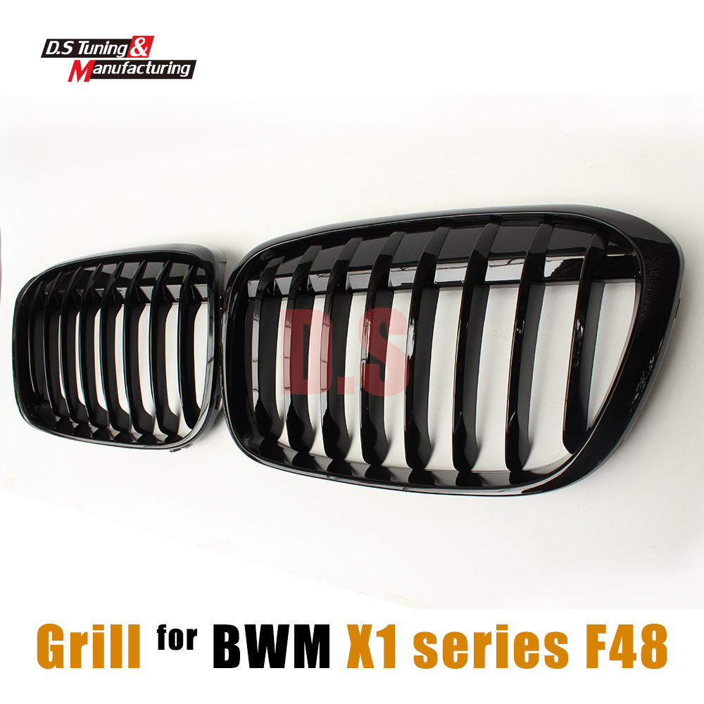2015 2016 X1 F48 Car Front Grills Kidney Racing Grille For BMW X1 F48 xDrive20i 25i ABS Bumper ABS Mesh Gird 5-Door Wagon