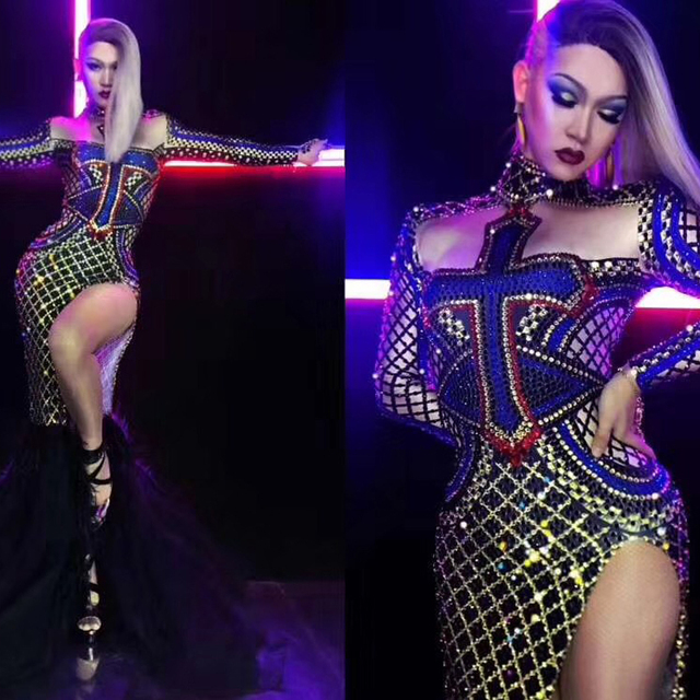 Sexy Dance Costume Women Rhinestone Dress Nightclub Pole Dance Performing Clothing DJ DS Gogo High Slitting Stage Wear DJ344