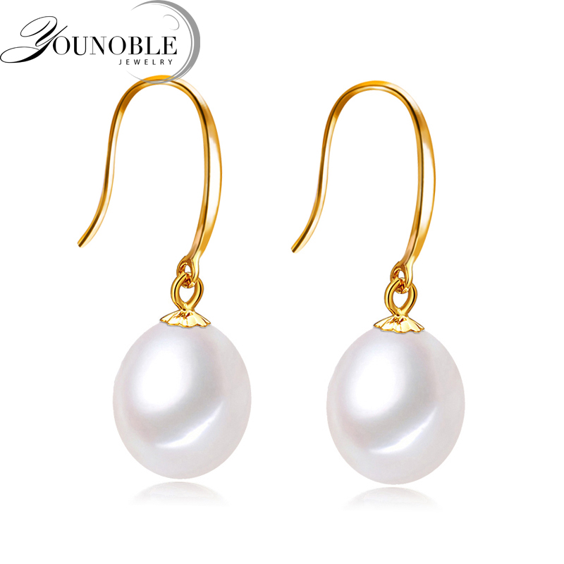 Real 18k Gold Pearl Earrings Jewelry, Anti allergic 18K Real Gold Drop Earrings For Women Trendy Girl Wedding Birthday Best GiftReal 18k Gold Pearl Earrings Jewelry, Anti allergic 18K Real Gold Drop Earrings For Women Trendy Girl Wedding Birthday Best Gift