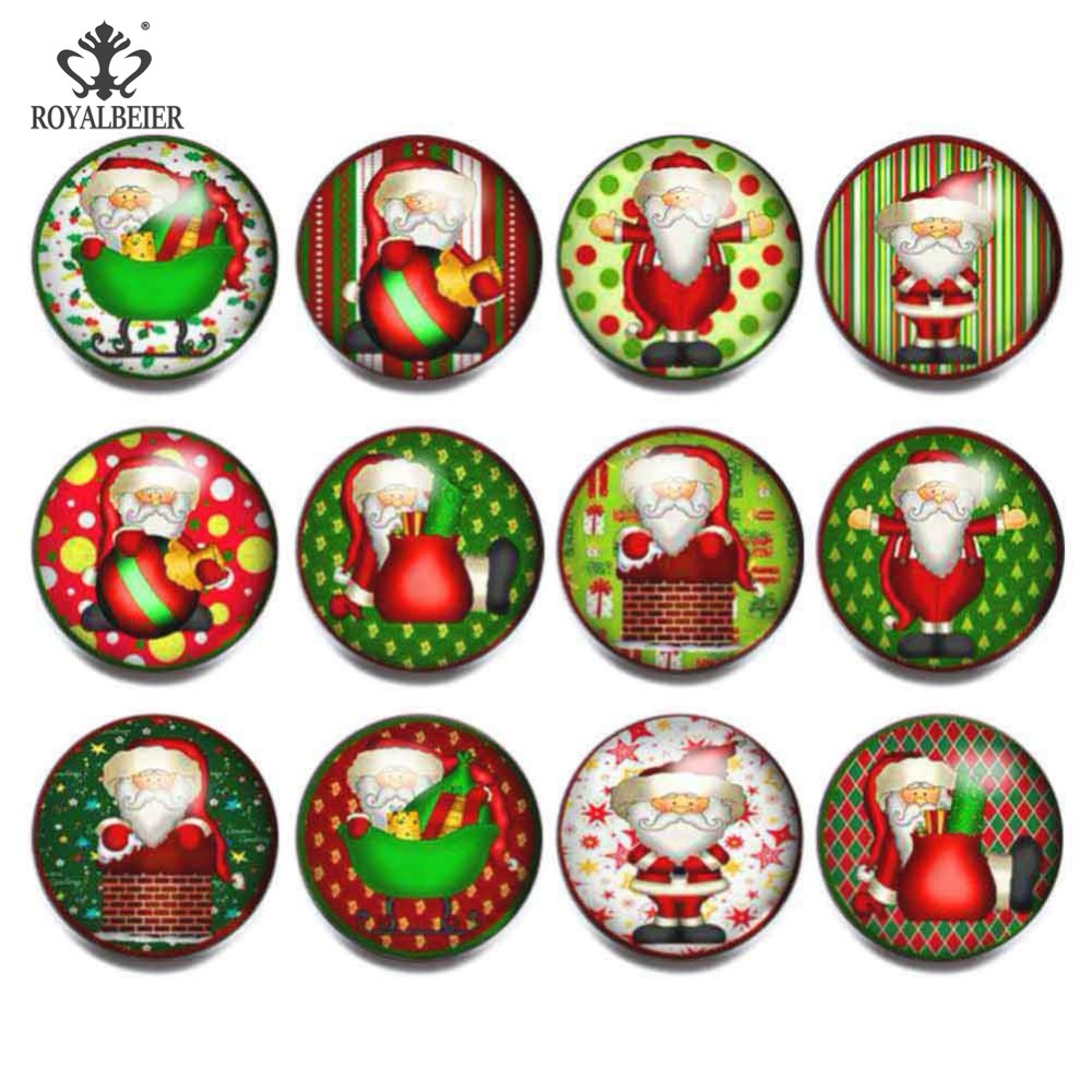 12pcs/lot Mixed Christmas Themes 18mm Snap Button Charms For Snaps Bracelet Necklace Glass Beads for Jewelry Making kg0096 image