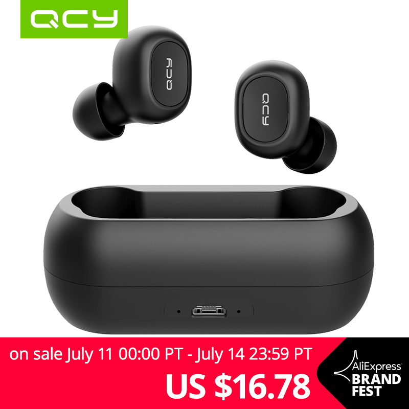 QCY QS1 T1C Mini Dual V5.0 Wireless Earphones Bluetooth Earphones 3D Stereo Sound Earbuds with Dual Microphone and Charging box Бейсболка