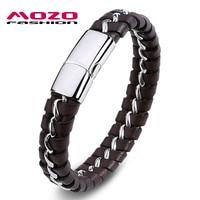 MOZO FASHION Mens Bracelet Brown Black Leather Rope Bracelets Stainless Steel Link Chain Bracelet Rock Men