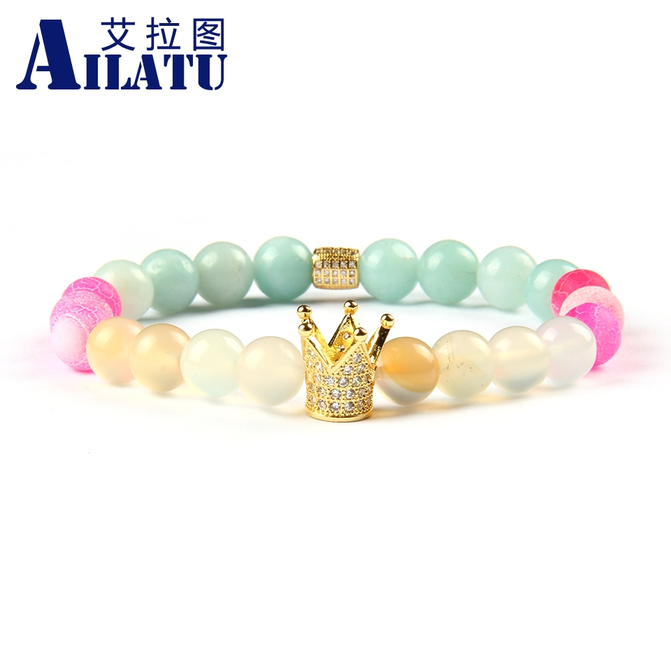 Ailatu Wholesale 10pcs lot Natural Stone Beads with High Quality Micro Paved Crown Charms Bracelets for