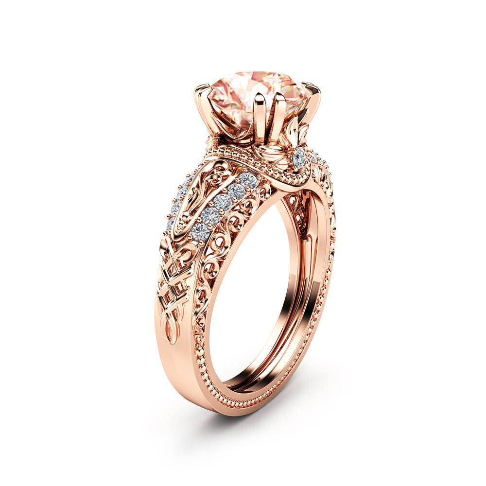 Verlobungsringe Mossovy Delicate Zirkon Silber Ring Zweig Blume Blätter Engagement Ring Für Frauen Mode Schmuck Hochzeit Ringe Für Frauen
