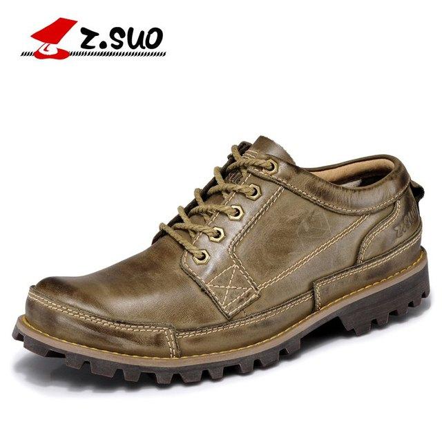 Z. SUO מותג גברים של עור אמיתי נוסע מזדמן גברים נעלי אופנה רטרו אוקספורד עור נעלי גברים zapatos hombre גודל: 38-45
