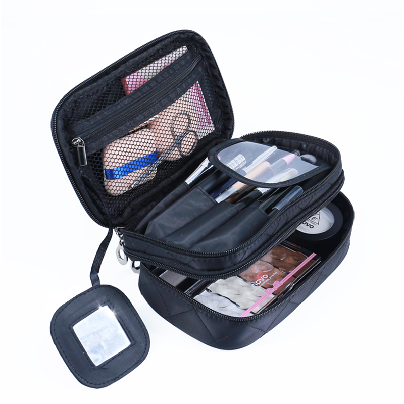 Wulekue Polyester 2 Color Organizer Makeup Large Bag Travel Organizer Cosmetic Bag for Women