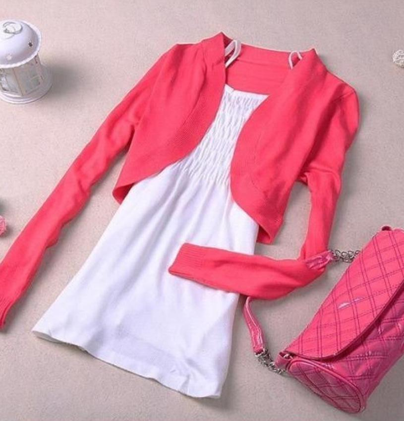 girls candy color short knitted cardigan for women long sleeves ...