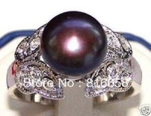 Women Gift word Love real real@@mysterious classical 8-9mm true south sea black pearl ring size 7 8 rings -silver-jewelry