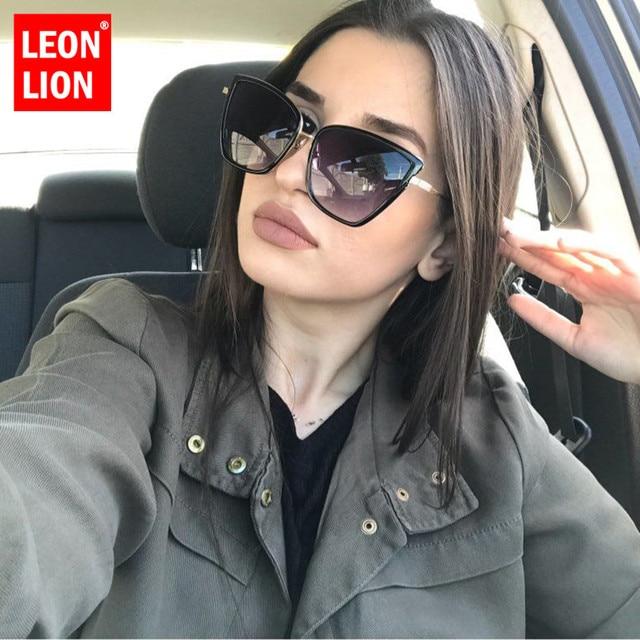 LeonLion Liga óculos de Sol Olho De Gato Mulheres Óculos de Sol Do Vintage Grande Quadro Óculos De Sol Dos Homens de Viagem de Compras UV400 Oculos Feminino