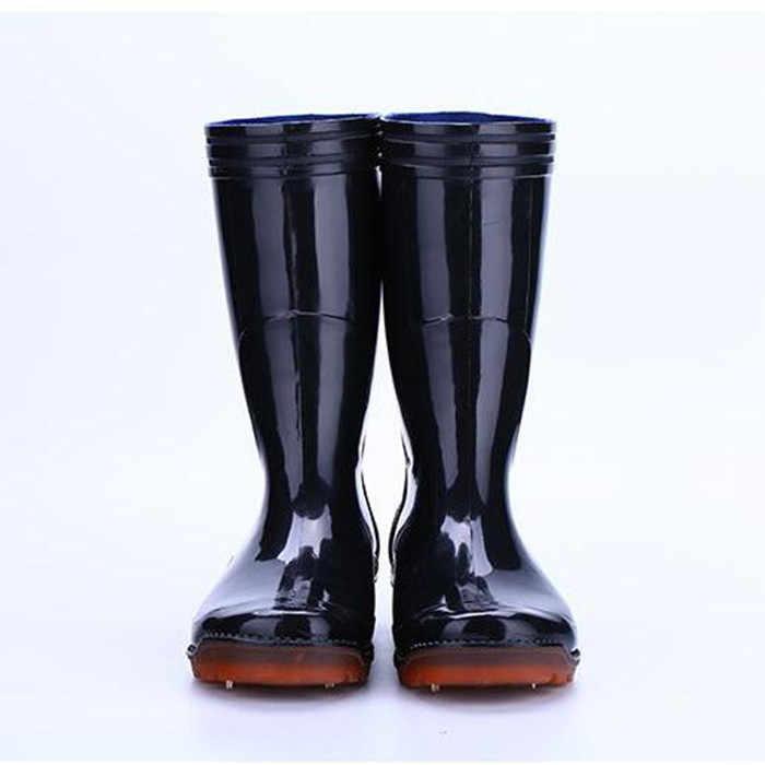 d870bfa508a Rouroliu Men Winter Non-Slip Mid-Calf Warm Rain Boots PVC Waterproof Water  Shoes Male Wellies Work Safety Shoes RT345