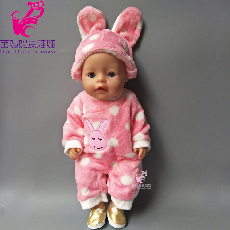 43cm Baby born doll Cute Pink Rabbit animal clothes set for 18 inch American girl dolls Rompers suit