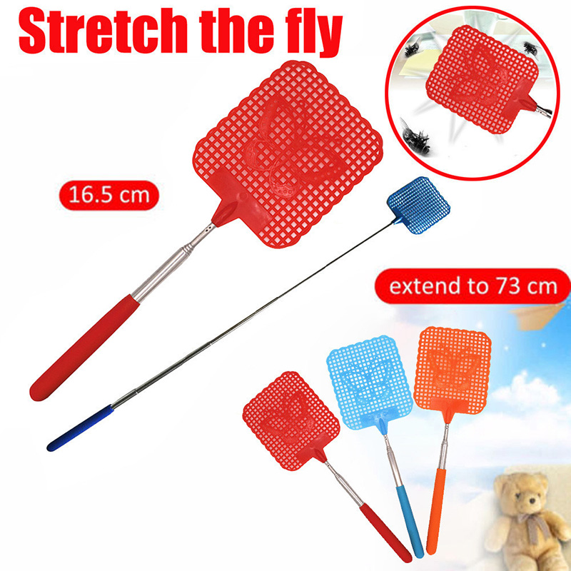 1pcs Stainless Steel Retractable Fly Swatter Fly Killer Anti Mosquito Pest Reject Insect Killer Tool Flyswatter
