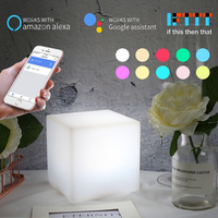 WiFi Smart Table Lamp Works with Alexa Google Home Voice Control Hand Touch Light RGBW LED Ambient Night Light Controlled by APP