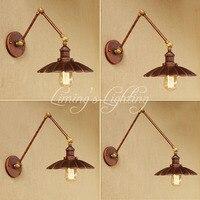 Loft Estilo Swing Arm Edison Arandela Luminárias de Parede de Cabeceira Lâmpada de Parede Antigo Ferro Do Vintage Para Casa Iluminação Interior