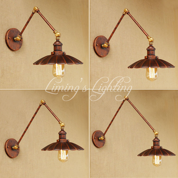 Loft Style Swing Arm Edison Wall Sconce Bedside Wall Lamp Antique Iron Vintage Wall Light Fixtures For Home Indoor Lighting loft style swing arm edison wall sconce bedside wall lamp antique iron vintage wall light fixtures for home indoor lighting