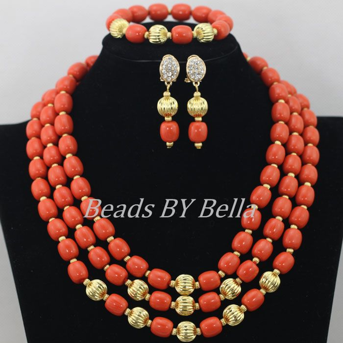 Latest New Orange Artificial Coral Beads Sale Beads Jewelry Set Nigerian Wedding African Beads Jewelry Set Free Shipping ABF308