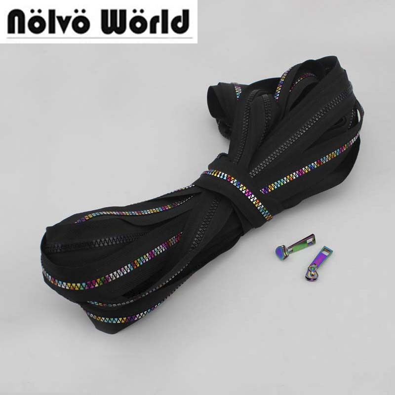 10Yards 5# Resin Plastic Teeth Zipper,black Fabric No5 Plastic Iridescent Rainbow Zippers For DIY Leather Bags,clothing Sewing
