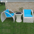 modern design Rattan/ Wicker Contemporary small Table Chair with Arms and cushion, Set of 3 pcs
