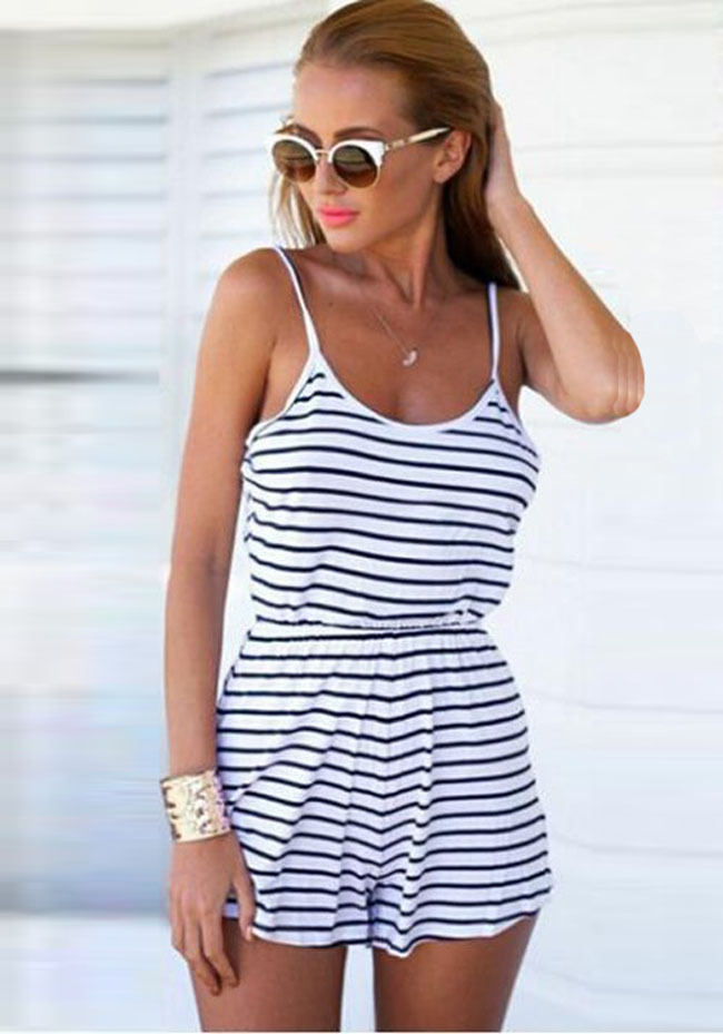 Aliexpress.com : Buy Ladies Striped Shorts Jumpsuits Sexy Rompers ...