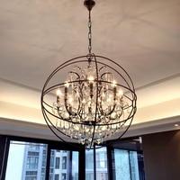 American Industrial Retro Pendant Lights Crystal Lighting Fixtures Modern Loft Pendant Lamp Metal Bar Restaurant E14 Socket