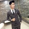 Мужские костюмы Моды плед пиджак Тонкий Хлопок 2017 осень и зима новый Высокое качество мужской деловой случай пиджаки XZ54