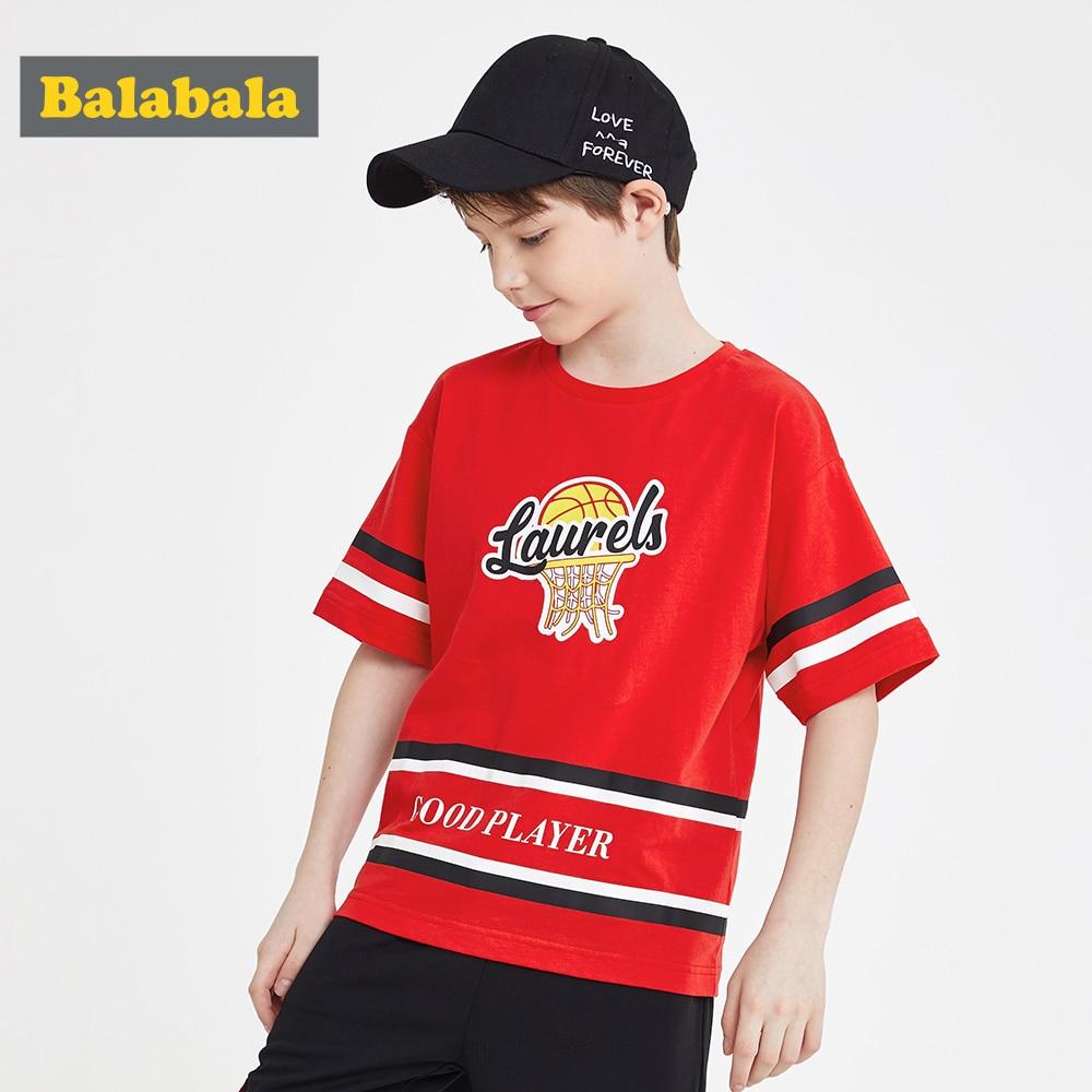 Balabala Tshirt Boys Basketball-Clothes Children's-Wear Short-Sleeve Cotton Summer New
