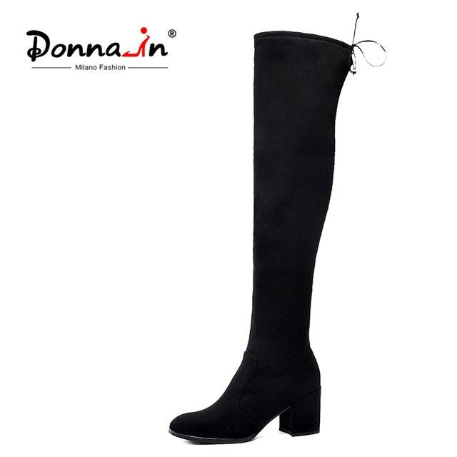 ドナ女性冬の腿膝のブーツの女性本物のレザーシューズレースアップハイヒール黒ロングボタ Feminina