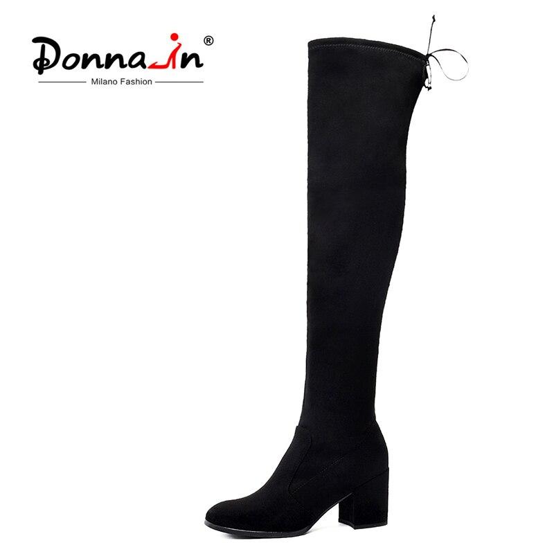 도나 인 여성 겨울 허벅지 높은 부츠 무릎 위로 여성 정품 가죽 신발 레이스 하이힐 블랙 긴 bota feminina-에서무릎위 부츠부터 신발 의  그룹 1