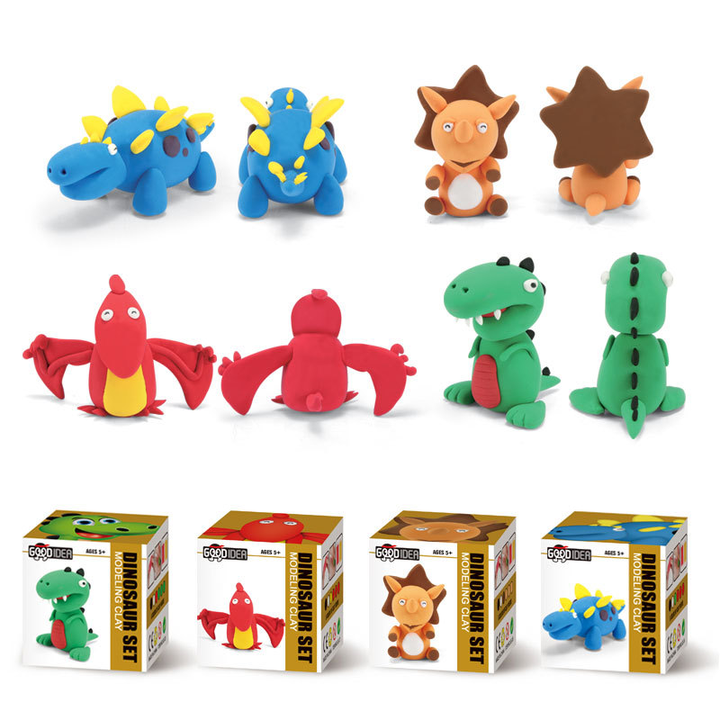 Handmade Animal Figure Creative DIY Modeling Clay Little Dinosaur Play Dough with Instructions Education Plasticine Toys for Kid