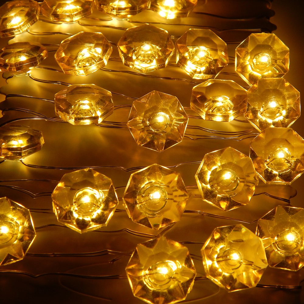 3m 40 LEDs Diamond Modeling Fairy Lights Vattentät Batteridriven Koppar Wire LED String Starry Lights Med Remote & Timer