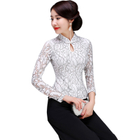 White Mandarin Collar Lace Lady Shirt Slim Flower Chinese Vintage Blouse Spring Autumn Handmade Button Tang