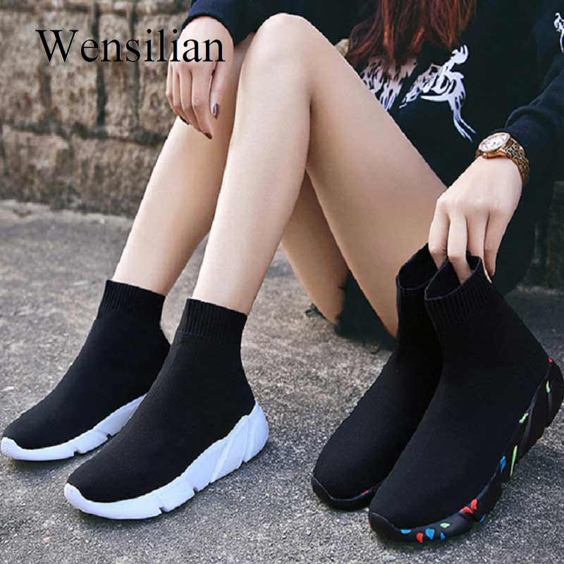 Sneakers For Women Vulcanized Shoes Female Socks Shoes Trainers Women Slip on Stretch Platform Shoes Black