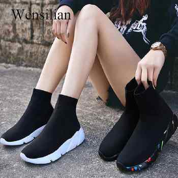 Sneakers For Women Vulcanized Shoes Female Socks Shoes Trainers Women Slip-on Stretch Platform Shoes Black Sneaker 2019 - DISCOUNT ITEM  40% OFF All Category