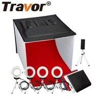 Travor New Studio Diffuse Soft Box Foldable With 4PCS Ring LED Light/5PCS Selfie Tripod For Camera Phone Studio Photography
