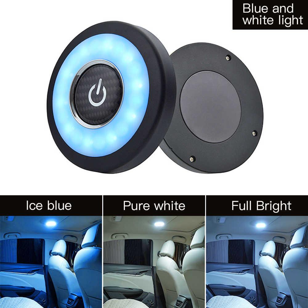 Universal USB Isi Ulang Putih/Biru/Kuning LED Mobil Lampu Baca Interior Atap Doom Lampu Magnetic LED Mobil Gaya lampu Malam 5