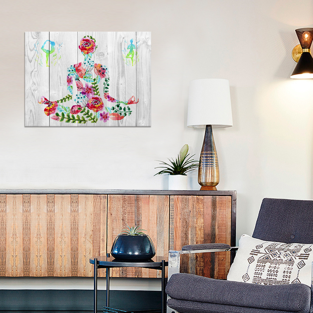 Flowers Yoga Shape Canvas Prints Vintage Dual View Wooden Background  Painting Wall Art For Yoga Bedroom Decor 24u0027x32u0027u0027  In Painting U0026  Calligraphy From Home ...