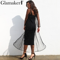 Glamaker Mesh Inlay Pearl Two Piece Set Dress Women Elegant Slim Black Bodycon Summer Dress Sexy