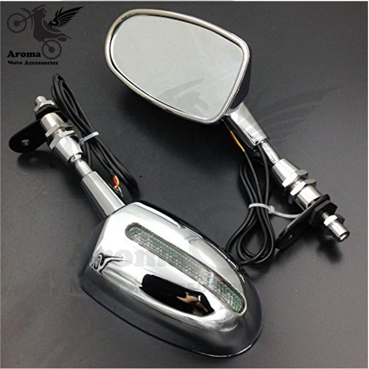 hot silver dirt pit bike motocross rear view mirrors motorbike turn signal light motorcycle side mirror LED moto rearview mirror