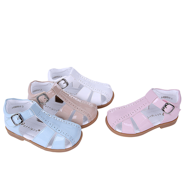 Pettigirl 2018 Summer New Design Girl Shoes Four Colors Crossed Striped  Leather Toddler Sandals Soft Kids