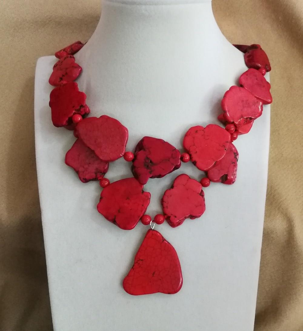 Wedding Woman Gift Necklace Irregular Red stone Slice Choker Necklace Pendant Exaggerated Stone Jewelry Charm red bat sleeves irregular hem cardigan