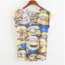 Despicabe Me Lovely Cartoon 3D Minions Print T shirt Casual Cotton Short Sleeve Emoji T shirt