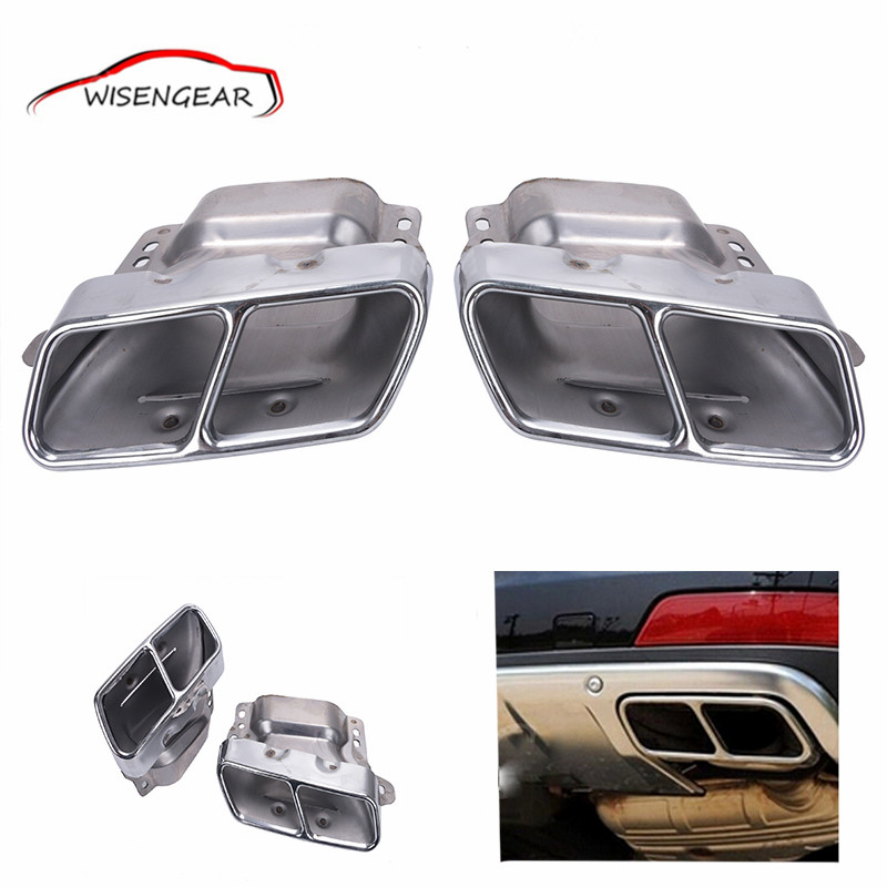 Dual Square Holes End Rear Chrome Exhaust Muffler Pipe Tip